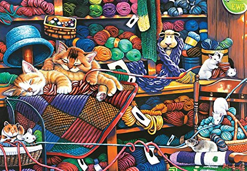 MasterPieces EZ Grip Extra Large Jigsaw Puzzle, Knittin' Kittens, Featuring Art by Jenny Newland, 1000 Pieces