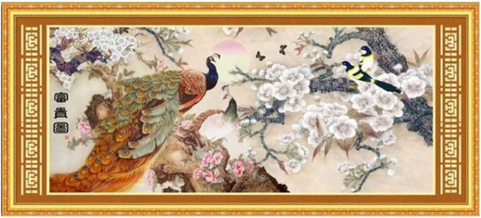 Cross stitch Chinese style flower C0173 peacock