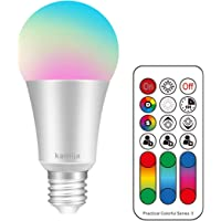 Kamija 10W Dimmable LED Colour Changing Light Bulbs with Remote Control, 120 Multi RGB Colours + Warm White (2700K) E27 Edison Screw Cap Type