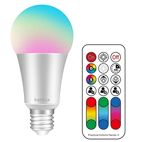Kamija 10W E27 Bombillas LED regulables que cambian de color con control remoto, 120 colores