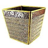 chantubtimplaza Waste Basket Thai Elephant Silk Reed Paper Bin Home Decor Gold Color