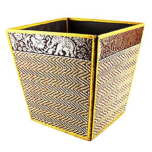Thai Elephant Silk Reed Waste Paper Bin Home Decor Gold Color 803925427033 Ebay