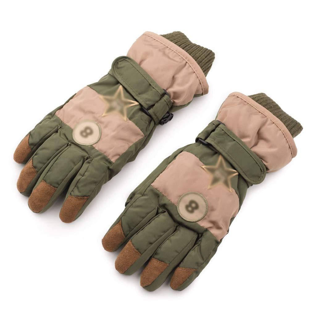 Xxw Children's Ski Gloves Autumn and Winter Plus Velvet Thick Waterproof Outdoor Warm Windproof Pupils Boys Five Fingers (Color : ArmyGreen)