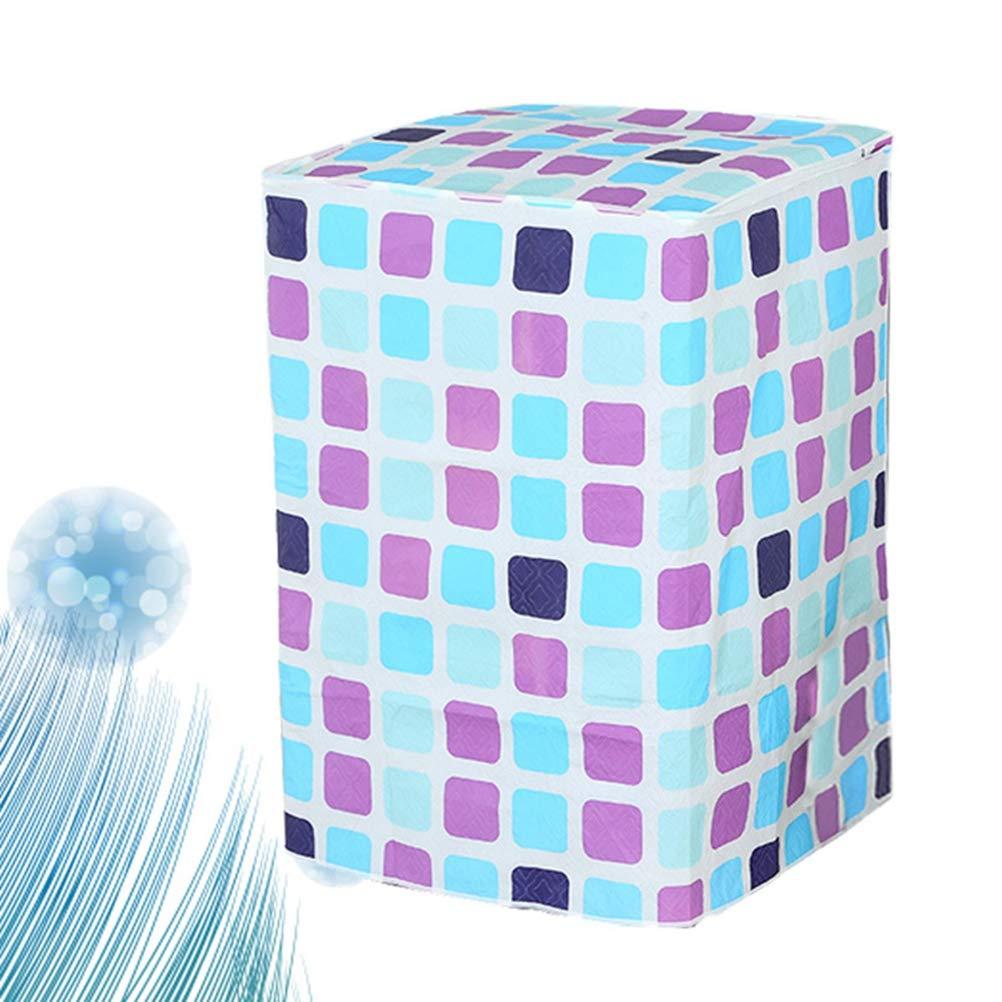 Vosarea Funda para Lavadora de Carga Superior Impermeable con Cremallera 56x60x82cm Azul y P/úrpura Patr/ón de Chekered