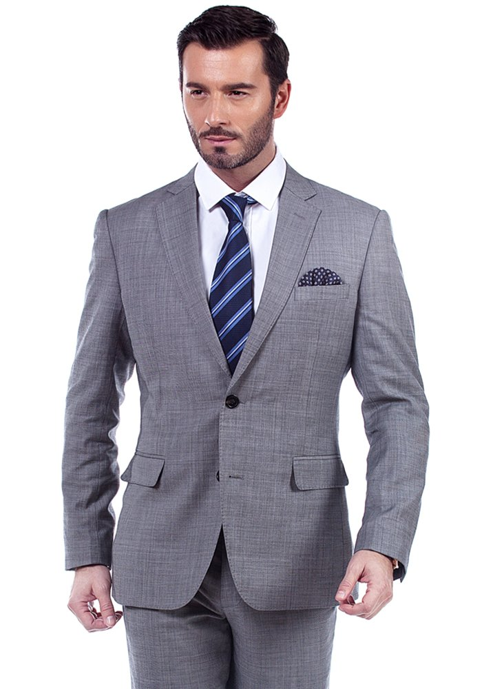 MA 100% Wool 2 Pockets Grey Men Business Suit (42 Regular US/ 52R EU)