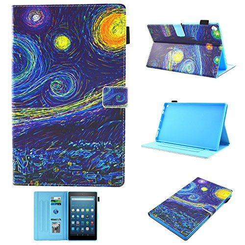 Uliking Folio Case for All-New Amazon Fire HD 10 (7th Generation, 2017 Release), Smart PU Leather TPU Stand Cover with Card Pencil Holder Auto Wake/Sleep for Fire HD 10.1