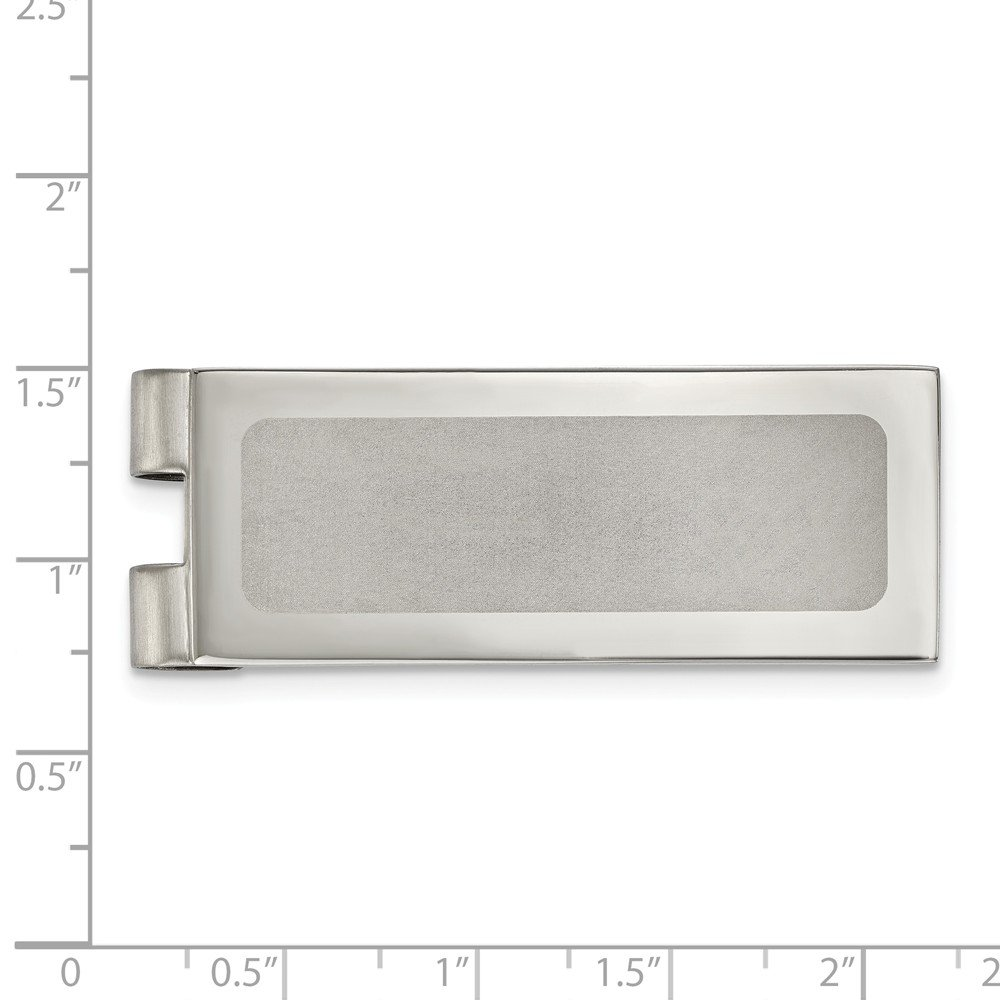 19.7mm x 54.3mm Stainless Steel Polished Laser Cut Center Money Clip