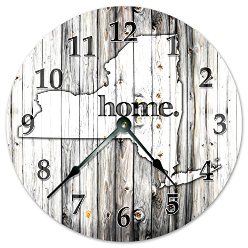 NEW YORK STATE HOME CLOCK Black and White Rustic Clock - Large 10.5