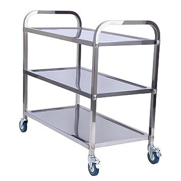 Carrito de almacenamiento de acero inoxidable de 3 niveles de XuanYue, ideal para servir, usar como carro de catering, para cocina, baño, restaurante: ...