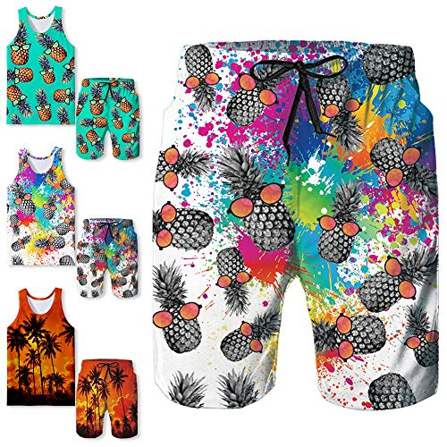 Freshhoodies Mens Swim Trunks Tropical Vacation Pineapple Print Beach Party Board Shorts Cool Holiday Swimwear Shorts Surfing (Beach-22, ()