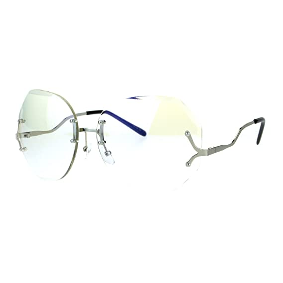 108a393dbd Womens Oversize Drop Temple Rimless Butterfly Diva Granny Eye Glasses Silver