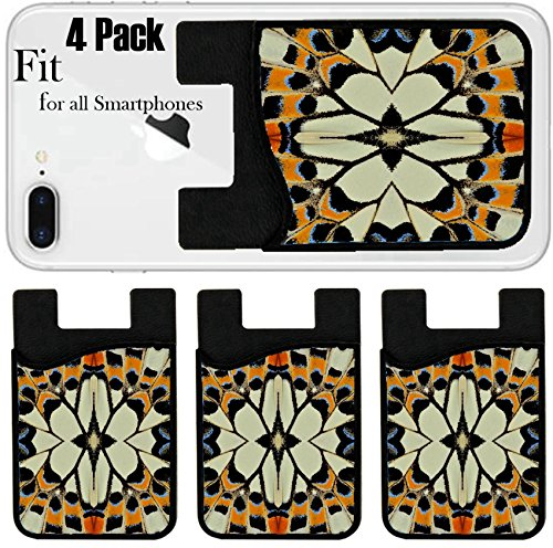 Liili Phone Card holder sleeve/wallet for iPhone Samsung Android and all smartphones with removable microfiber screen cleaner Silicone card Caddy(4 Pack) Colorful Background Pattern designed from - Philip Lim Usa