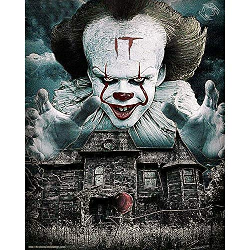 5D DIY Diamond Painting Rhinestone Pictures of Crystals Embroidery Kits Arts, Crafts & Sewing 5D Diamond Oil Painting Evil Clown Haunted House 12x20 Inch ()