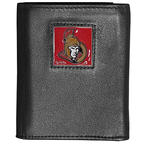 NHL Ottawa Senators Deluxe Leather Tri-Fold Wallet Packaged in Gift Box, Black