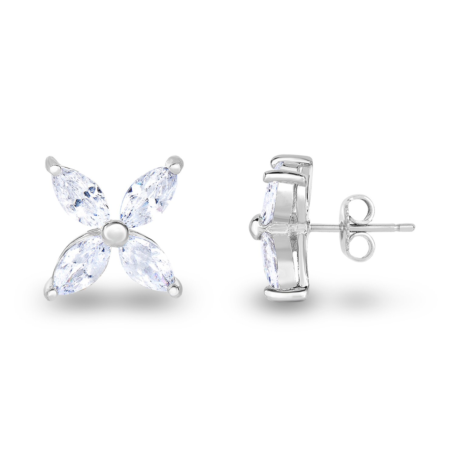 Spoil Cupid Rhodium-Plated Sterling Silver Cubic Zirconia Marquise Shape Flower Petals Stud Earrings