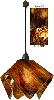 product image for Jezebel Signature Flame Track Lighting Pendant Large. Hardware: Black. Glass: Earth