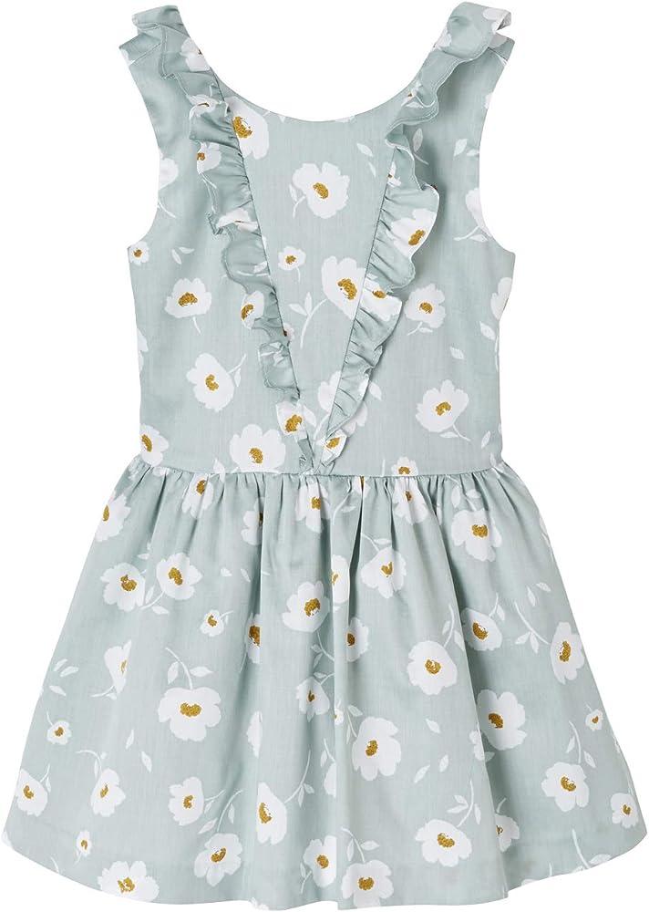 VERTBAUDET Vestido de Ceremonia para niña, de satén de algodón Estampado de Flores Verde Medio Estampado 10A: Amazon.es: Ropa y accesorios