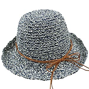 Samtree Women's Foldable Beach Cap,Wide Brim Roll up Straw Sun Hat for Small Head Size
