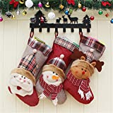 """HAOSUN Christmas Stockings Set of 3 - Santa Snowman Elk Holiday Christmas Decoration Gift Holder 18"""" Non-woven and Brushed Flannel"""