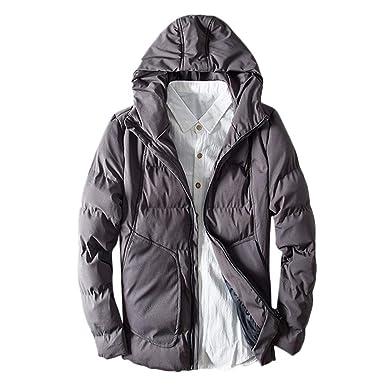 1bf55582c2 Hanomes Herren Jacket,Herren Winter Warme Kapuzenjacke Dicker, Fester  Fleece-Mantel mit Reißverschluss Baumwolle gefütterte Jacke Einfarbig  Reißverschluss ...