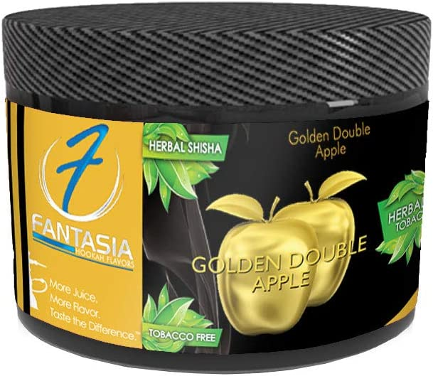 Fantasia Herbal, Hookah Shisha Flavor, 250g Can, Tobacco Free, Nicotine Free, Golden Double Apple (Traditional Double Apple)