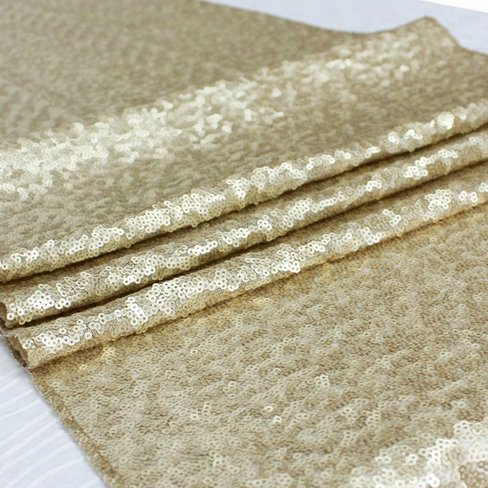 ShiDianYi Sequin Aisles Floor Runner-Matte Gold 4FTX15FT Wedding Aisle Runner