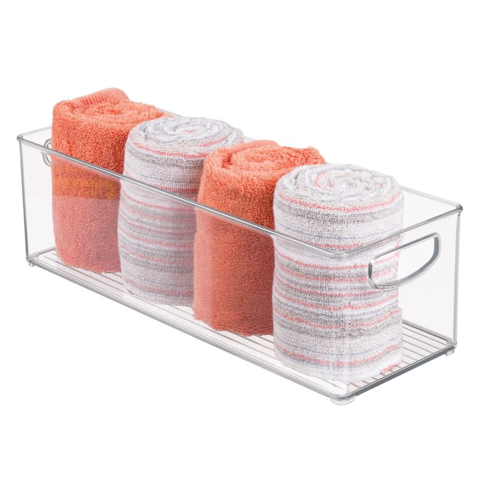 mDesign Storage Bins with Built-in Handles for Organizing Hand Soaps, Body Wash, Shampoos, Lotion, Conditioners, Hand Towels, Hair Accessories, Body Spray, Mouthwash - 16'' Long, 4 Pack - Clear by mDesign (Image #6)