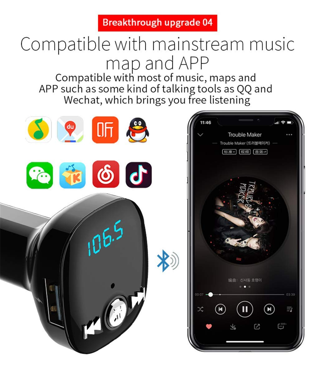 FM Transmitter MP3 Player Bluetooth Receiver/Hands Free Calling/Radio Adapter/Car Charger with Bluetooth 4.2/2 USB Ports Car Kit by Nwbdqc (Image #4)
