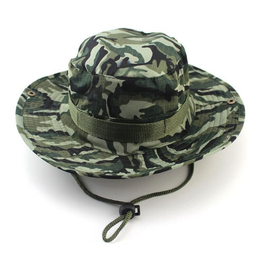 Tinksky Mens Fishing Cap Summer Boonie Hat with Chin Strap for Outdoor Activities Field Camo