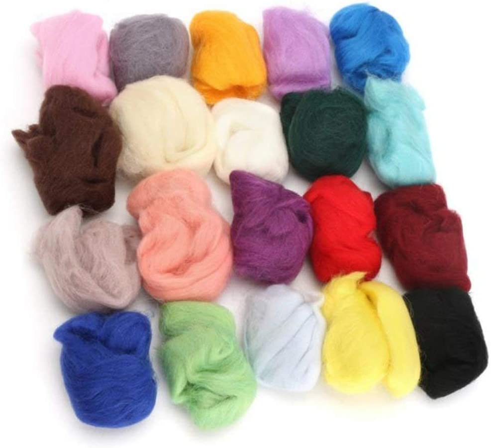 Outgeek 36 Color Felting Wool Hand Spinning DIY Wool Roving Felt Wool Fiber