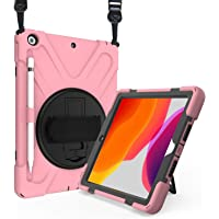 ProCase iPad 10.2 Case 2019 7th Gen iPad Case, Rugged Heavy Duty Shockproof 360 Degree Rotatable Kickstand Protective Cover Case for iPad 7th Generation 10.2 Inch 2019 (A2197 A2198 A2200) -Pink