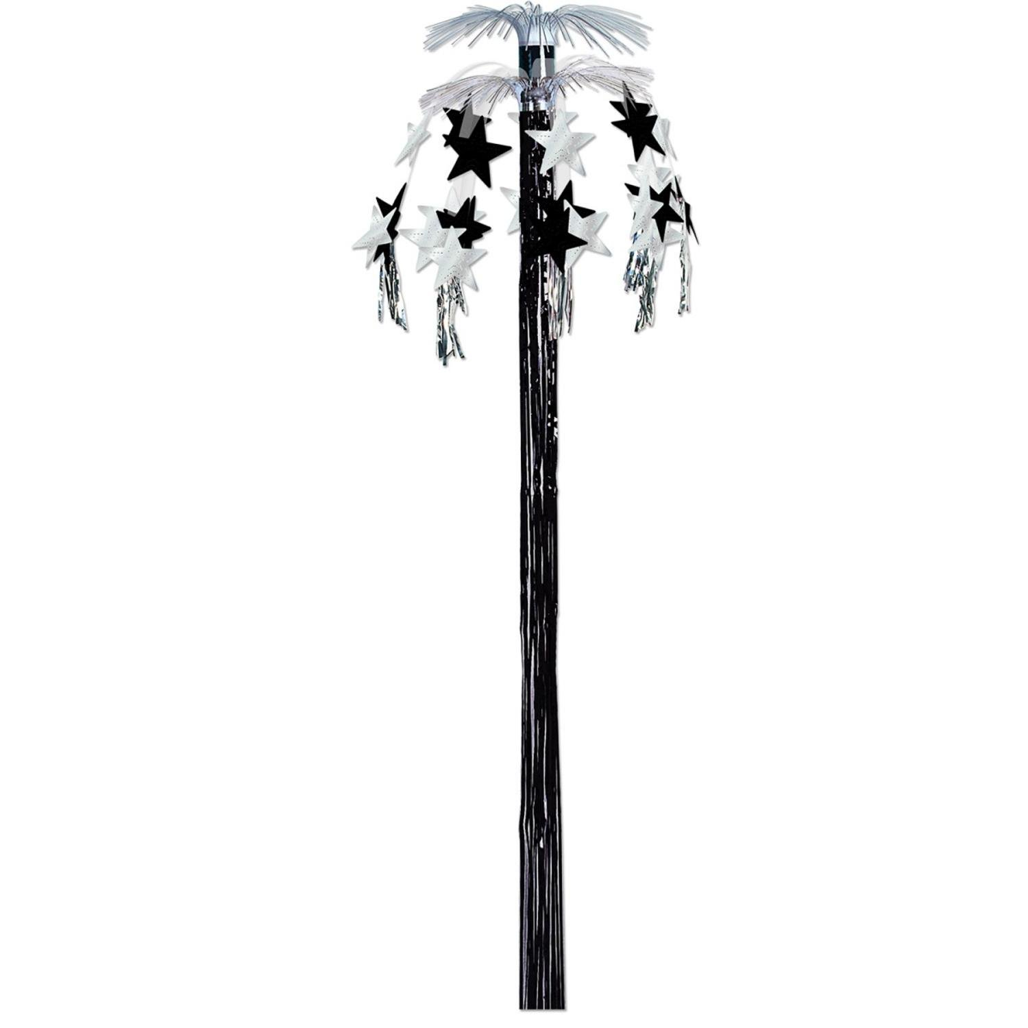Club Pack of 12 Hanging Metallic Black and Silver Star Cascade Fountain Party Decorations 8'