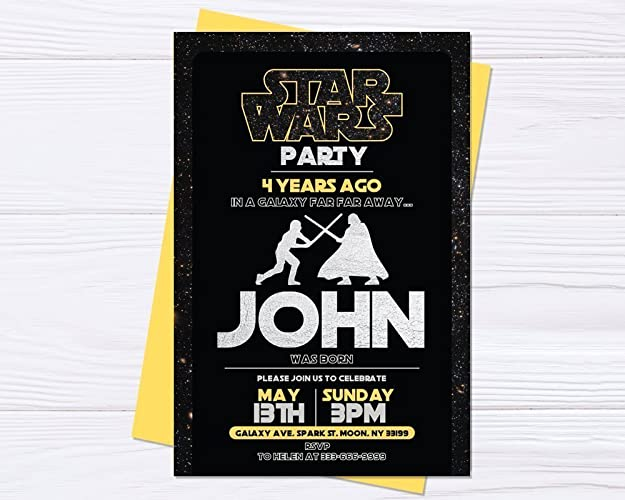 Amazon Invitation Luke VS Darth Vader Star Wars Birthday Party Invite Home