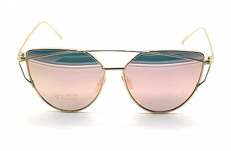 e170cdce48 Fashion Women Cat Eye Sunglasses Classic Brand Designer Twin-Beams  Sunglasses Lady Coating Mirror Flat