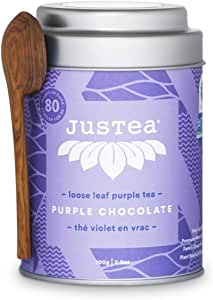 JusTea Purple Chocolate | Loose Leaf Purple Tea with Hand Carved Tea Spoon | 40+ Cups (100g) | Very Low Caffeine | Award-Winning | Fair Trade | Non-GMO