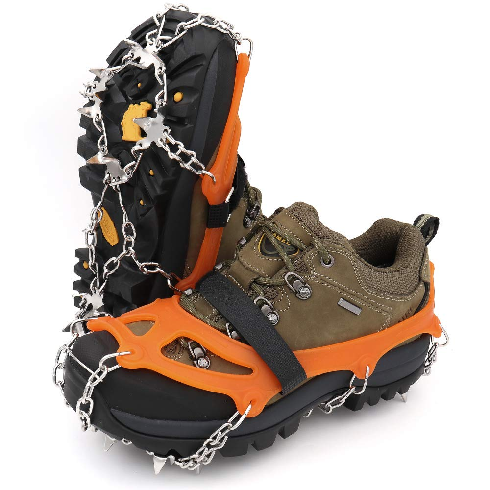 LeanKing Ice Snow Grips, Traction Cleats Ice Cleats with 18 Spikes for Walking, Jogging, Climbing and Hiking on Snow, Ice, Mud, Sand and Wet Grass (Orange, M.)