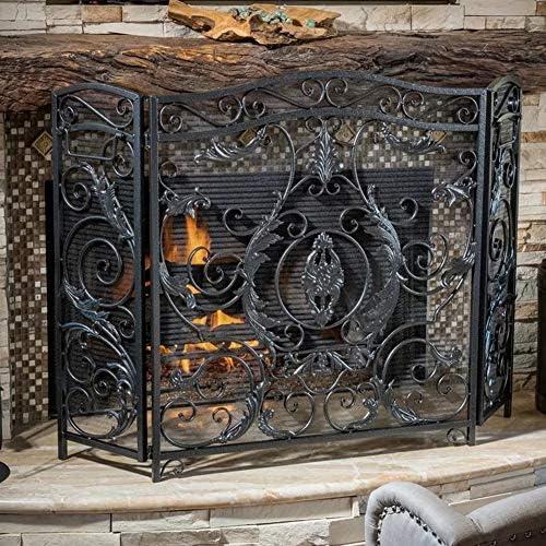 暖炉スクリーン ヘビーデューティ ファイアープレイスガード 暖炉スクリーン スパークフレームガード アーチ型3パネル 折りたたみデザイン、 ブラック
