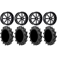 9 Items Bundle 4x137 Bolt Pattern 12mmx1.5 Lug Kit Fuel Maverick Black 22 Wheels 35 MotoHavok Tires
