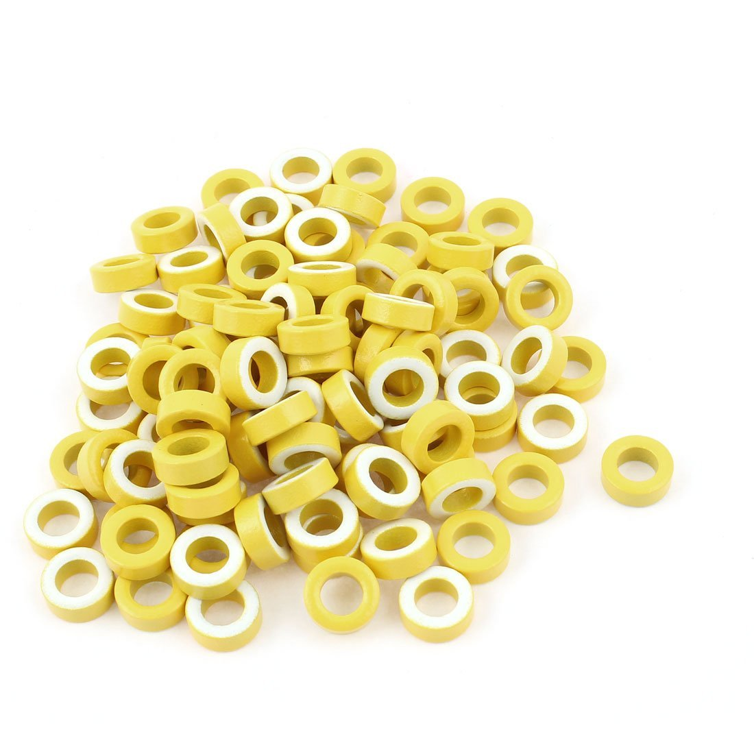 100 piezas de hierro DPTK5026 Poder núcleo toroidal de ferrita Anillos Blanco Amarillo