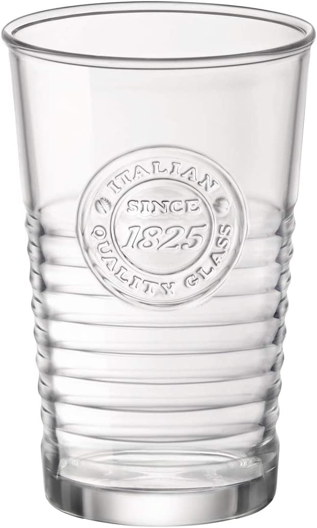 Bormioli Rocco Officina Water Glasses – Set Of 4 Clear Drinking Tumblers With Textured Ring Design & Vintage Stamp Logo – 11oz High Capacity Tall Cups For Soda, Juice, Milk, Coke, Beer, Spirits