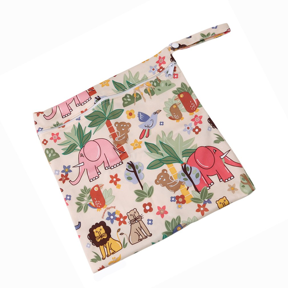 Little bee VWH Baby Waterproof Zipper Bag Washable Reusable Infant Nappy Changing Cloth Diaper Bag