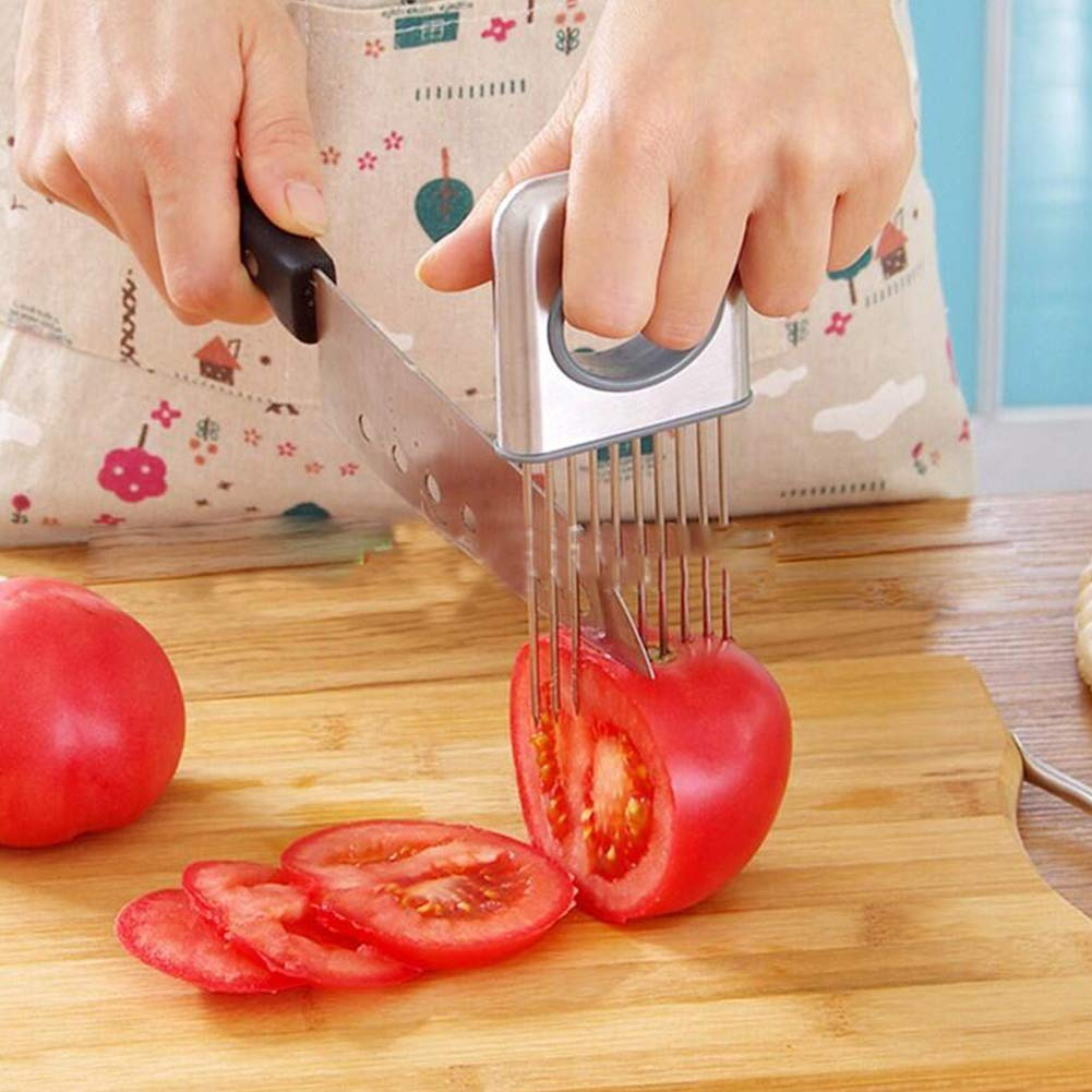 Gem/üsekartoffelschneider Zwiebelhalter zum Schneiden Zwiebelschneidewerkzeug Edelstahl-Zwiebelschneider Edelstahl-Schneideger/äte