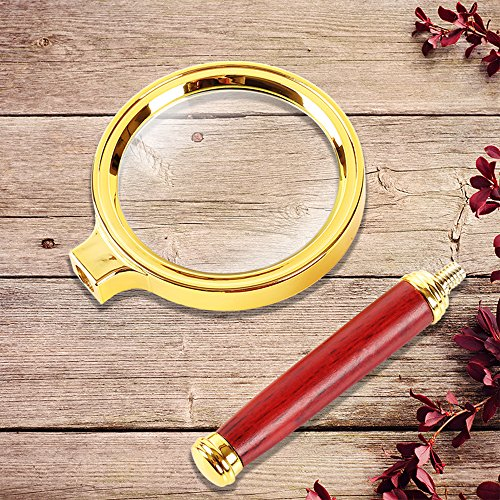 Home Mart Antique Mahogany Handle Magnifier Metal Reading Magnifying Glass 60mm Lens Jewelry Loupe by Home Mart (Image #4)