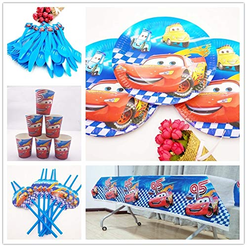 61 Unids Lightning Mcqueen Cartoon Cars Plato De Papel Niños ...