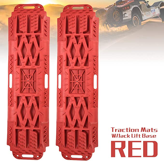 RED W X 2.6 inch Size: 42.57 inch 2 Pcs Traction Mat Recovery for Sand Mud Snow Track Tire Ladder 4X4 FieryRed Traction Boards with Jack Lift Base L x 12.4 inch H Traction Tracks