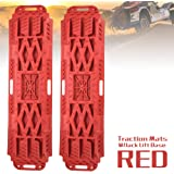 LITEWAY Traction Boards with Jack Lift Base- 2 Pcs Traction Mat for Sand Mud Snow Track Tire Ladder 4X4 - Recovery…