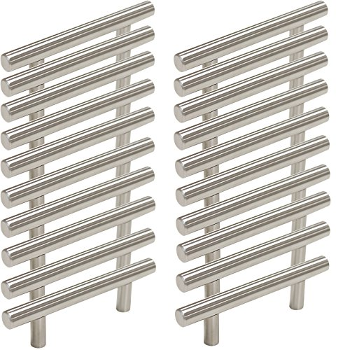 Probrico Stainless Steel Modern Cabinet Handles, Drawer Pulls, Kitchen Cupboard T Bar Knobs and Pull Handles Brushed Nickel - 3 Inch Screw Spacing - 20Pack