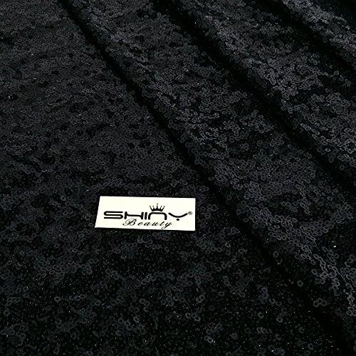 ShinyBeauty Wedding Aisle Runner-57FTX4FT,Black SEQUIN Aisles Floor Runner Wedding Aisles Runner Fabric(36X684-Inch Long) by ShinyBeauty