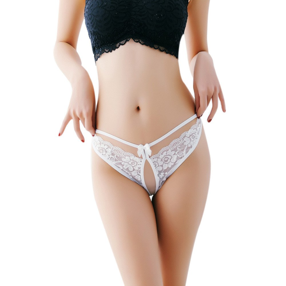 Lumumi Sex Lingerie for Women,Women's Sexy Lace G-String Open Crotch Thong Panties T-Back Underwear (White, One Size)