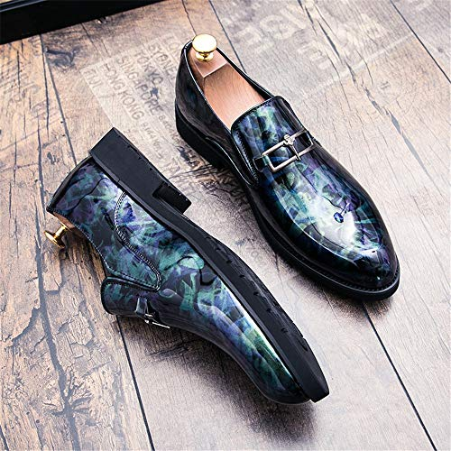 Retro Personality Blu Fashion Colore Cricket Brush da Scarpe Pelle Scarpe Oxford Men's in Verniciata Business Traspirante Sportive Casual qwtTgX